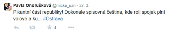 Pavla Ondrušková - OVACOPI tweet